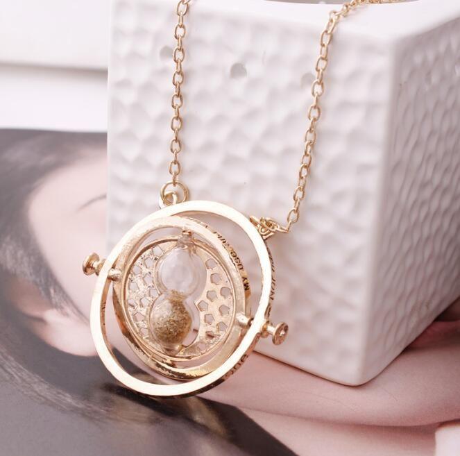 Collar de plata collar caliente de la vendimia del reloj de arena Hermione Granger oro para las mujeres de señora Girl GB1516