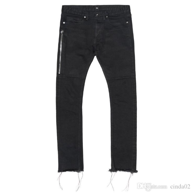 Newest TOP Oversized Terry Men Jeans Hiphop Four Two Four 424 Broken Hole Side Zipper Jeans