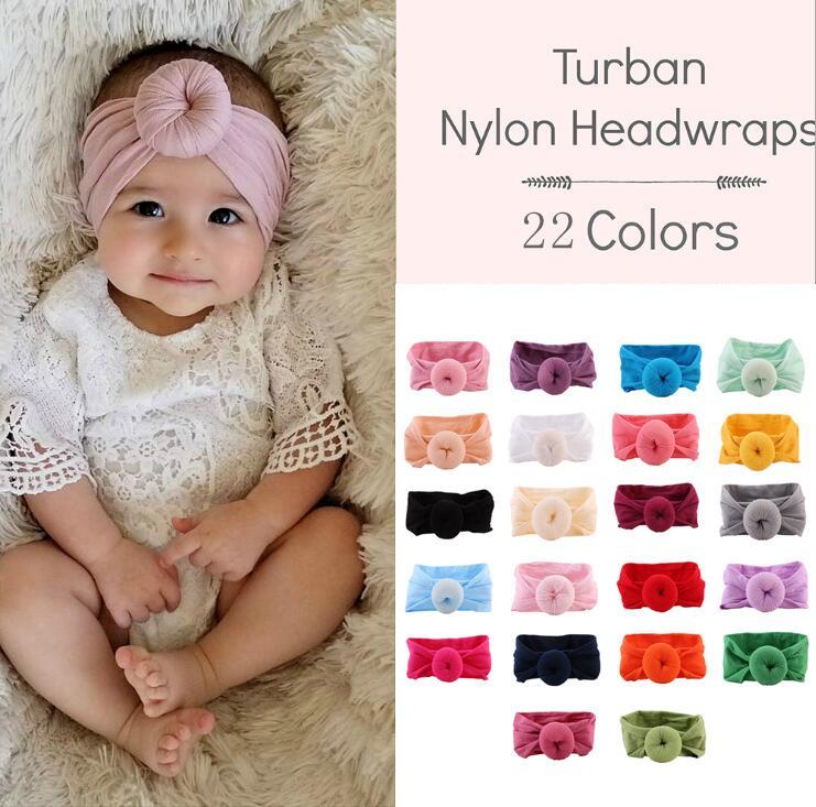 Mixed 22 Farben Neugeborenes Kleinkind Baby-Kopf-Verpackungs Turban Stirnband-Haar-Accessoires Baby-Geschenke für 0-2J