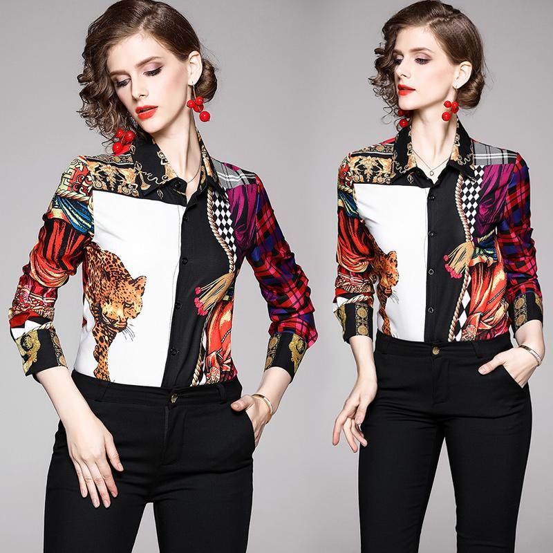 Butik Gömlek İş Bluz Uzun Kollu Bayan 2020 İlkbahar Sonbahar OL Gömlek Baskılı Lady Bluz Tops