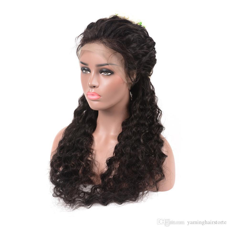 150 % 밀도 360 레이스 정면 가발 미리 뜯어 낸 아기 머리 레미 브라질 물 웨이브 레이스 프런트 인간의 머리 가발