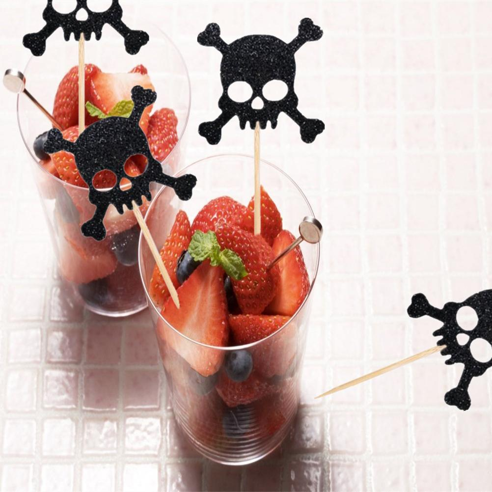 24 piezas favores de fiesta pirata calavera pastel de cumpleaños Magdalena decorativa Muffin Selecciones de fruta Halloween Toppers favores de fiesta suministros