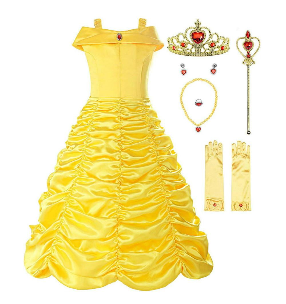 2020 Little Girls Princess Belle Yellow Party Costume Off Shoulder Dress Girl Dresses Ball Gown From Jomshop 16 23 Dhgate Com