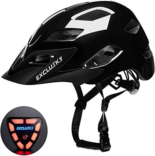 Außen Exclusky Fahrradhelm mit USB Rücklicht CPSC Certified Radfahren Fahrradschutzhelme justierbares leichtes Fahrradhelm