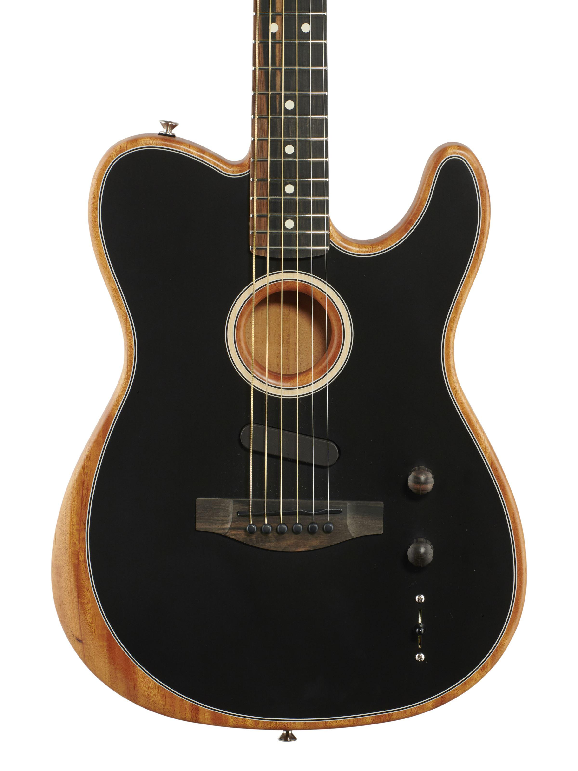Guitarra Custom Shop Acoustasonic Tele Matte Black Polyester Satin uretano Finish, spurce Top, Profundo C Mahogany Neck, hardware Chrome