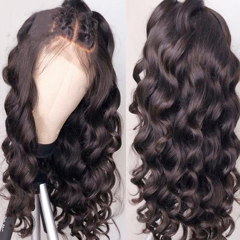 Alta temperatura de onda larga suelta peluca negra parte media parte delantera del cordón sintético peluca para las mujeres negras sin cola peluca suiza del cordón con el pelo del bebé