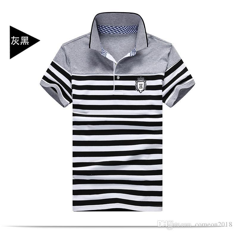 mens designer t shirts clothes Shirt 2019 Summer tshirt Male High Quality Turn-Down Collar Striped Short Sleeve Cotton Embroidery Logo