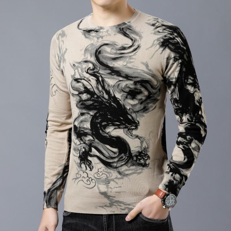 Animal Printed Slim Fit Pullover HerrenFashion Pullover Erkek Kazak Ziehen Homme Chompas Hombre Pullover Mans 2019 Frühling Kleidung