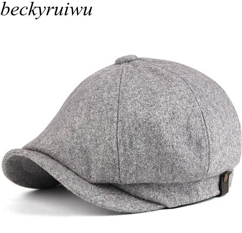 Плюс Размер Man Hat Встроенная фуражка для мужчин Войлок восьмиугольная Hat Женщина шерсти Берет Большой размер Newsboy Hat Cap M L XL Y200110