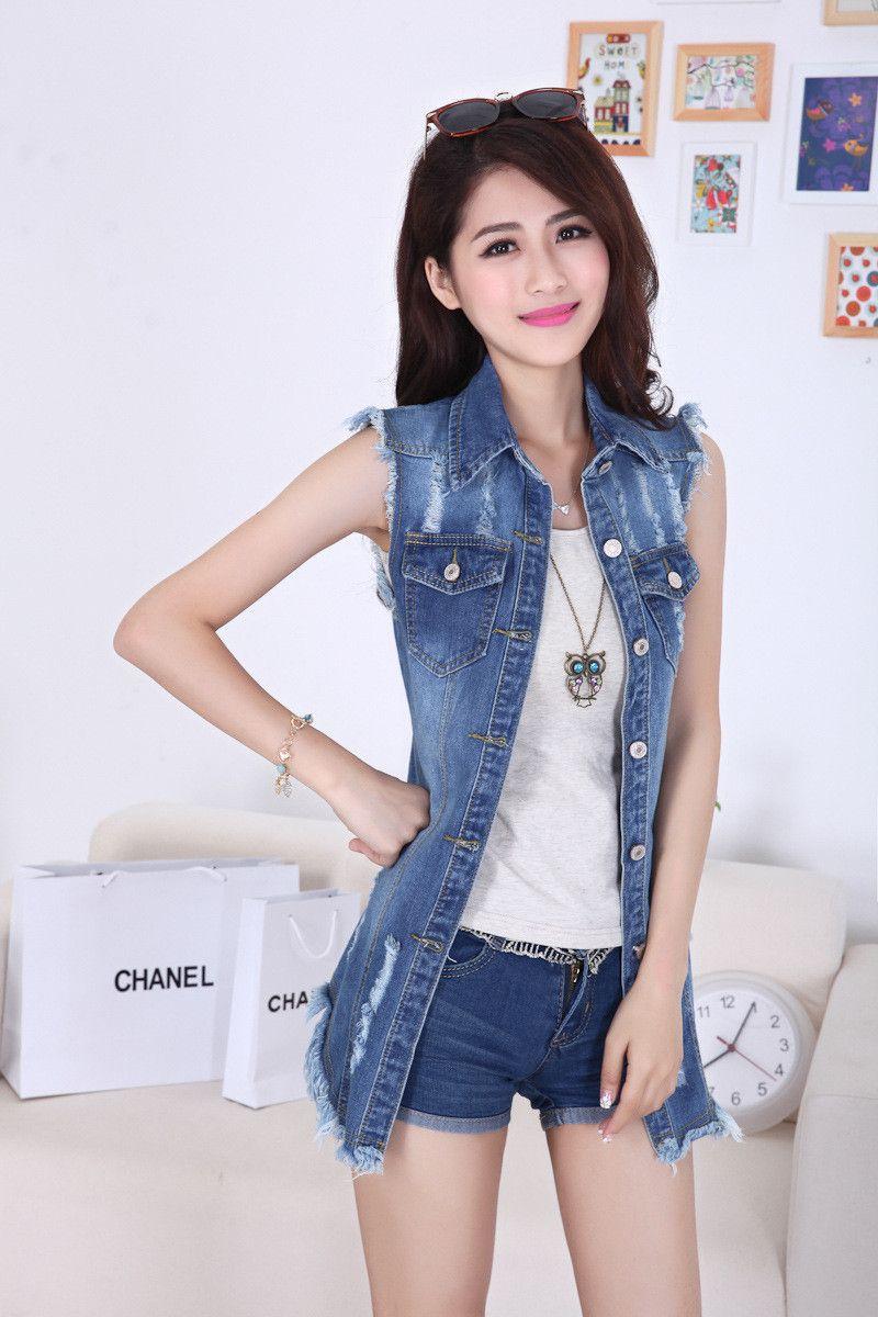 Cappotti da donna da donna estivi con gilet lungo senza maniche in gilet di jeans da donna estivi firmati da donna