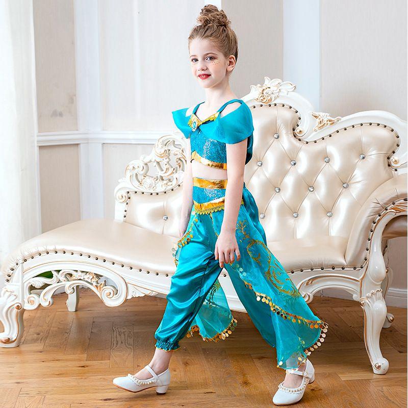 Çocuk Parti Göbek Dansı Elbise kostüm 2ps Cadılar Bayramı Noel için Cosplay Çocuklar Çiçek Kız Prenses Yasemin Kostümler