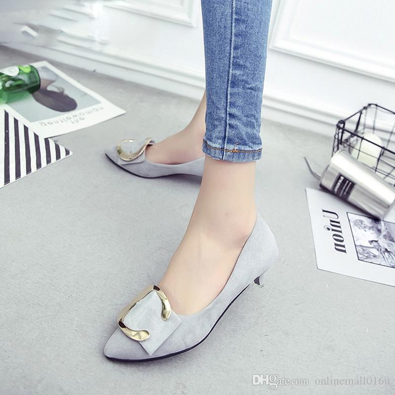 Women Dress Shoes Low Heels Office Lady Shoes Pointed Toe Pumps Faux Suede Thin Heeled Ladies Shoes