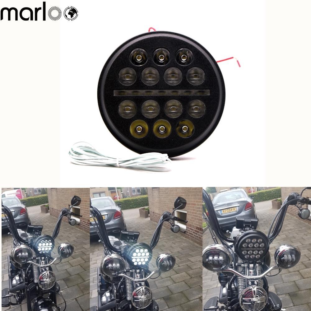 """Chrome 5-3//4/"""" 5.75 LED Motor  Headlight for Harley Sportster XL 883 1200 Dyna"""