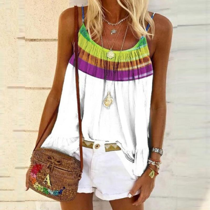 Womens Sleeveless Beach Clothes Top Rainbow Print Plus Size Tops Shirt Summer Casual Blouse Blusas Mujer De Moda 2020 Verano