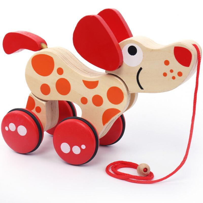 Cartoon Classic Baby Toy Kids Wooden Educational Model For Children Boy Gifts Crocodile Dog Drag Twisting Car Toys J190525