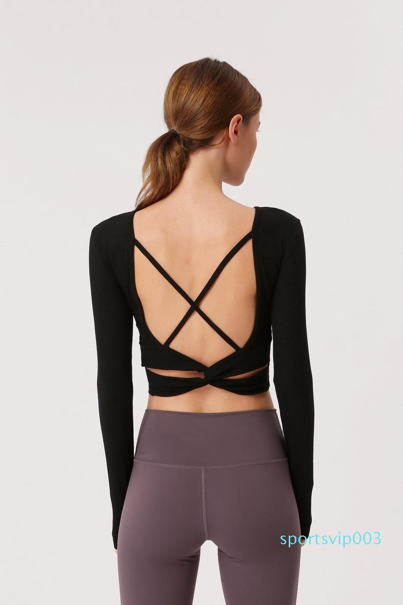 Ropa de yoga femmes Retour Straps Gym Yoga Yoga Tops Chemises Crop manches longues T-shirts Rip tissu extensible