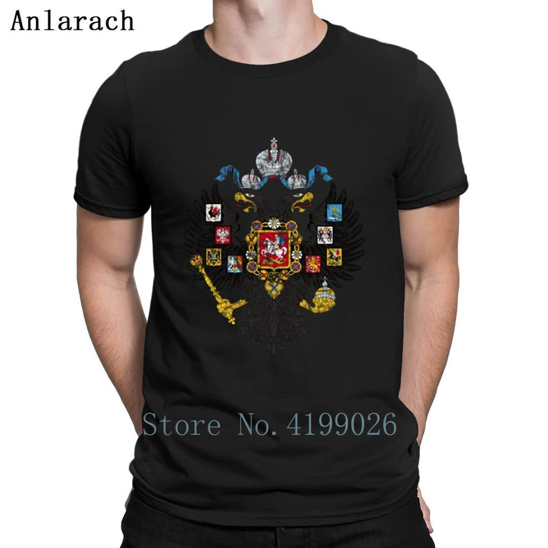 Russian Empire Coat Of Arms T Shirt Classic Pattern Graphic Personalized Mens Tee Shirts Top Quality Plus Size Summer Style