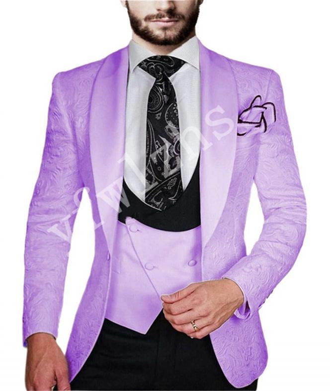 Un botón clásico Hermoso Trajes padrinos de boda Mantón solapa del novio esmoquin hombres de la boda / Prom mejor hombre Blazer (chaqueta + pantalones + chaleco + Tie) W154
