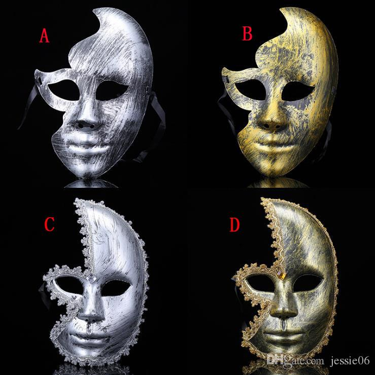 2019 Fancy dress party antique gold and silver rhinestones men women half face mask Male and female masquerade rhinestone mask HOT