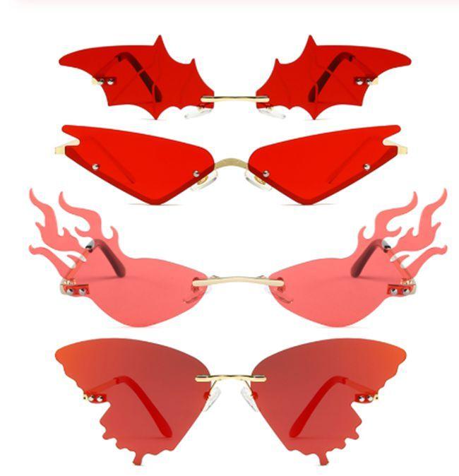 25 цветов 4 стилей моды пламени пожара Солнцезащитные очки Женщины Rimless волна Солнцезащитные очки Металл Оттенки Для Урожай Женщины Зеркало очки UV400 100PCS