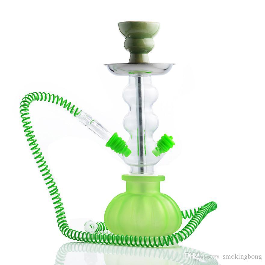 10.6 Inchs Glass Arabic One Hose Hookah Shisha Pipe Acrylic Bong Narghile Hookah Metal Charcoal Tongs Free Shipping Big Hokahs Bong