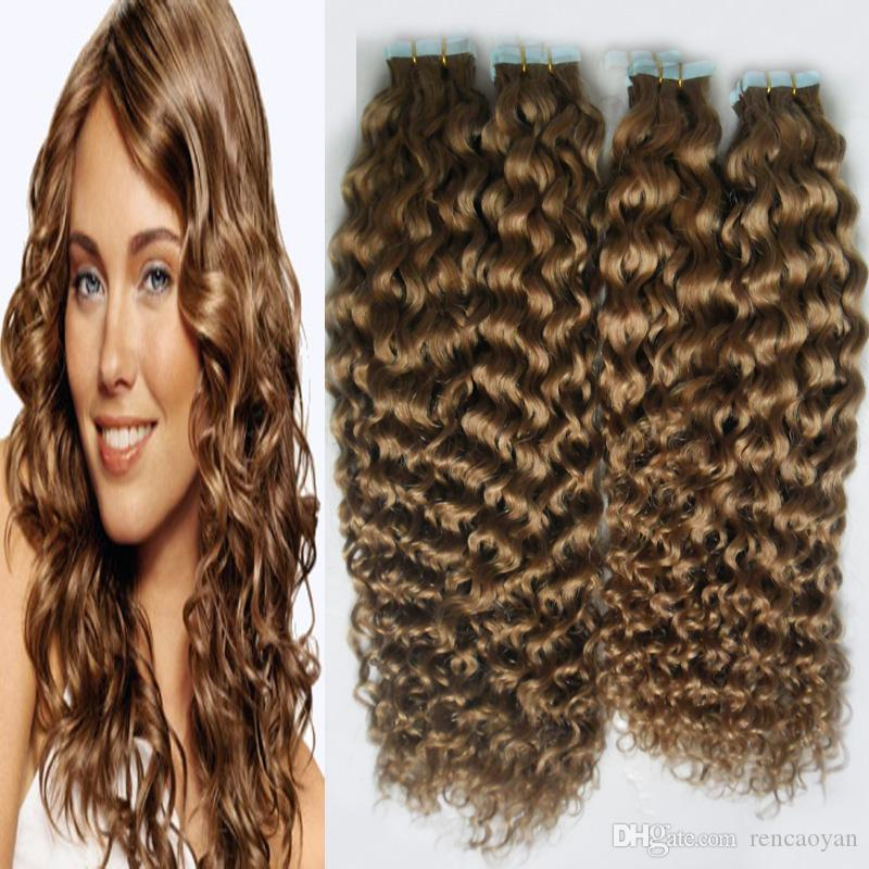 Fita Na Extensão Do Cabelo Humano 200g não processado brasileiro kinky encaracolado cabelo virgem 80 PCS Trama Da Pele Sem Costura Salão de Cabeleireiro