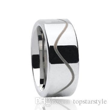 Wave line laser engraving Tungsten Ring wholesales 8mm for men