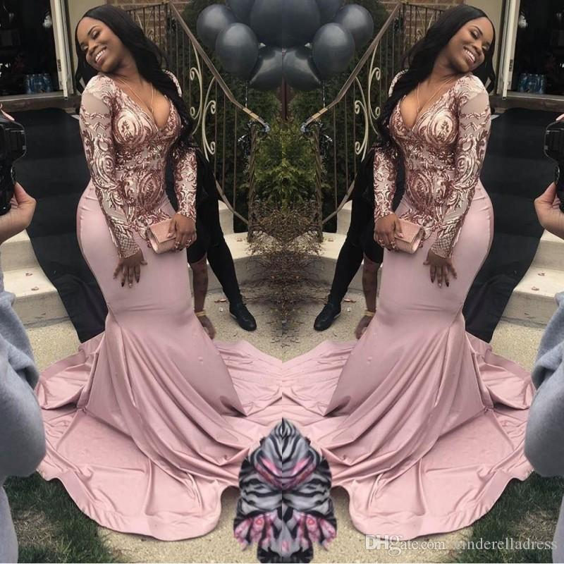 Afrikanische Plus Size Long Sleeve Mermaid Prom Kleider 2019 Rosa Pailletten Tiefem V-Ausschnitt Sweep Zug Illusion Formales Abendkleid Nach Maß