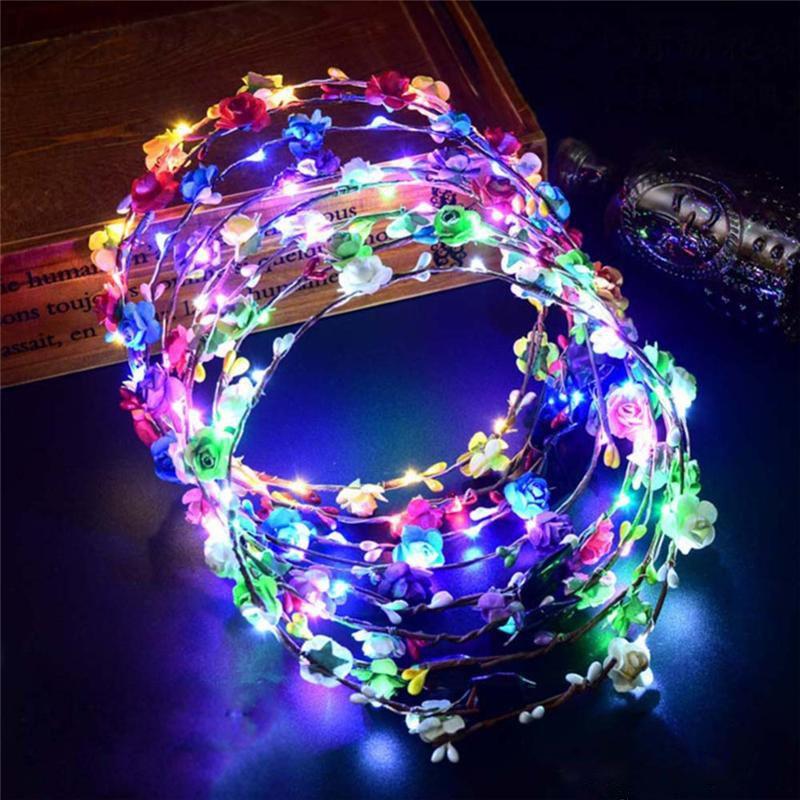 Sıcak satış LED Kafa Işıklar Glow strings Çiçek Taç Bantlar Light Up Saç Çelenk Hairband Garlands Kadınlar Noel Partisi Çelenk