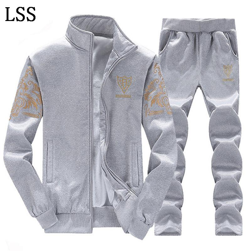 Spring Men Set Quality Fleece Sweatshirt + Pants Male Tracksuit Sporting Sweat Suits Mens Survetement Sportswear TZ-2