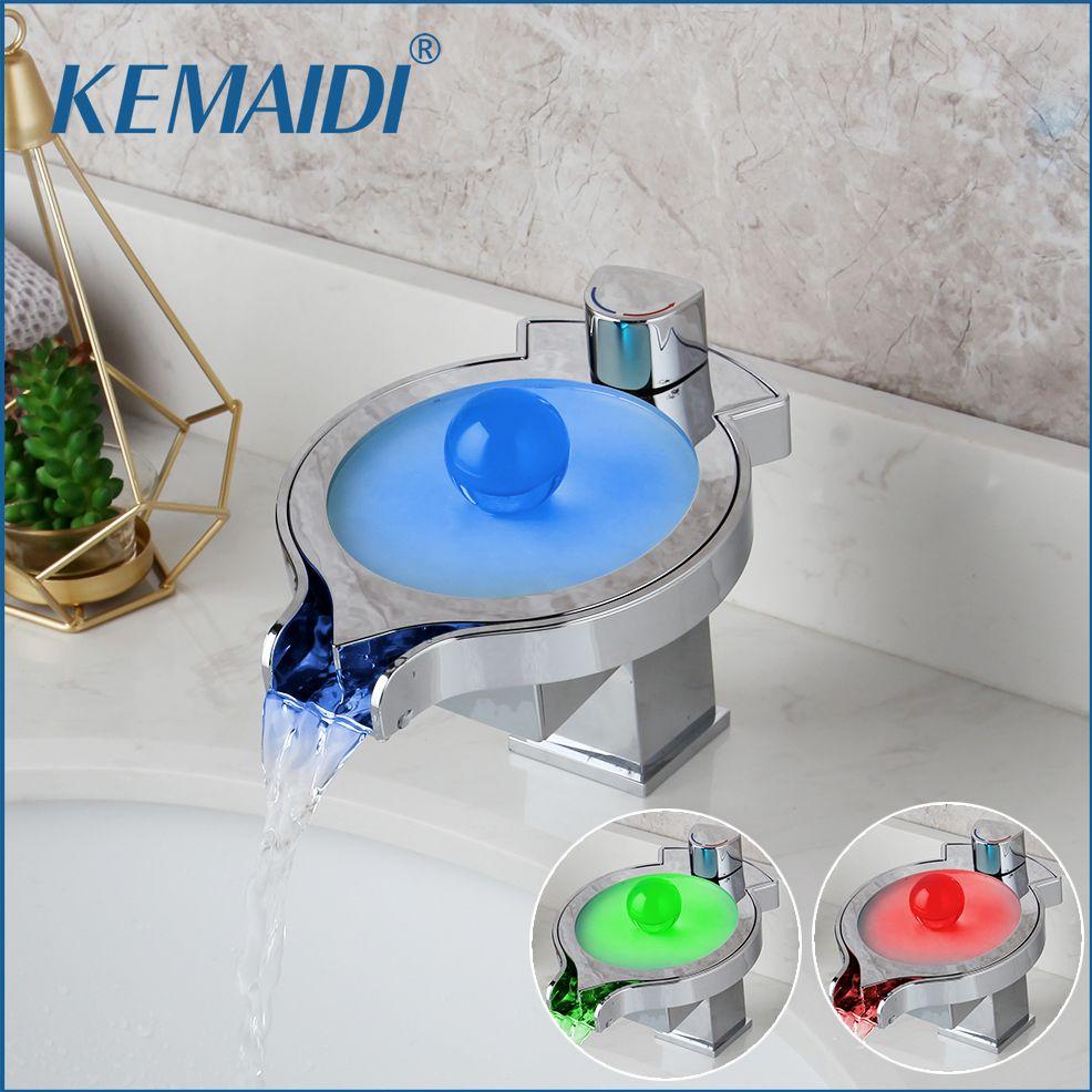 KEMAIDI LED اللون التغييرات الشلال حوض صنبور الحمام حوض استحمام بالوعة خلاط صنبور واحدة مقبض مطبخ صنبور المياه كروم T200424