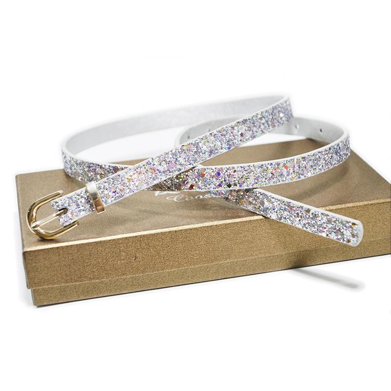 Hot Sweet Women Decoration Belt Sequins Metal Needle Buckle Simple PU Leather Belt S833