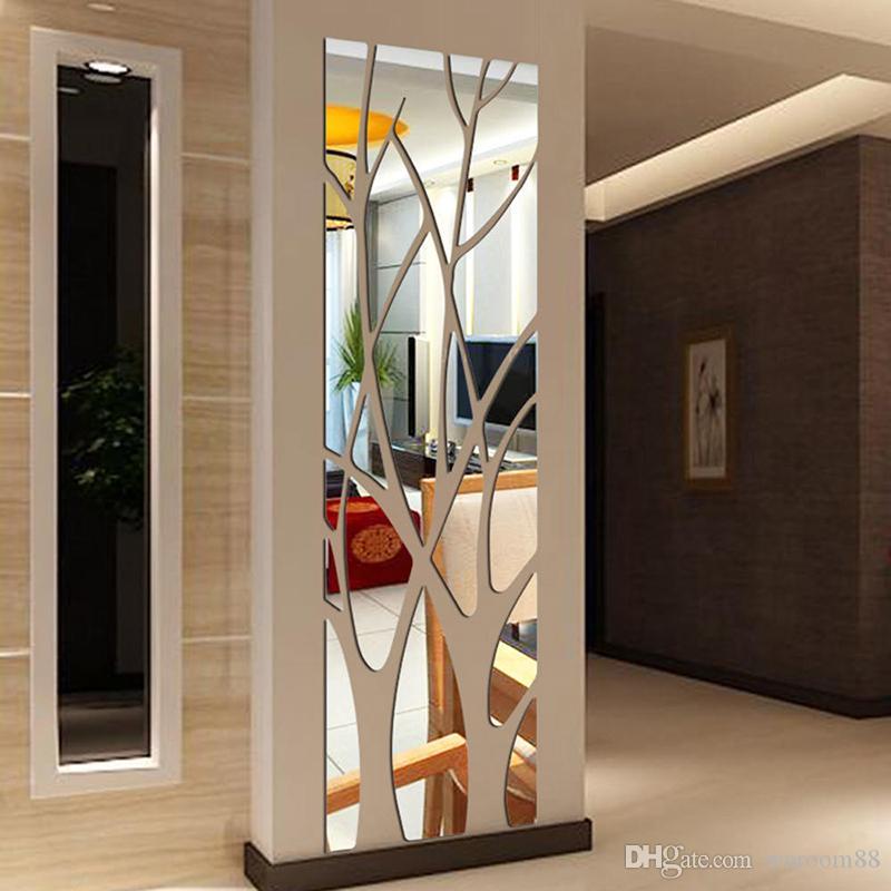 شجرة الأزياء الاكريليك مرآة ملصقات الحائط غرفة المعيشة الشارات قاعة الحديثة مرآة نمط ملصق الفن جدارية الجدار ملصق مائي للمنازل