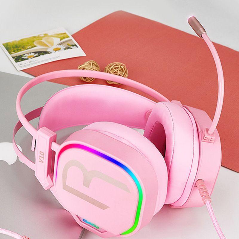 V10 핑크 소녀 게임 헤드폰 USB 7.1 스테레오 PC 게임 헤드셋 전화기 컴퓨터에 마이크 소음 취소 헤드폰