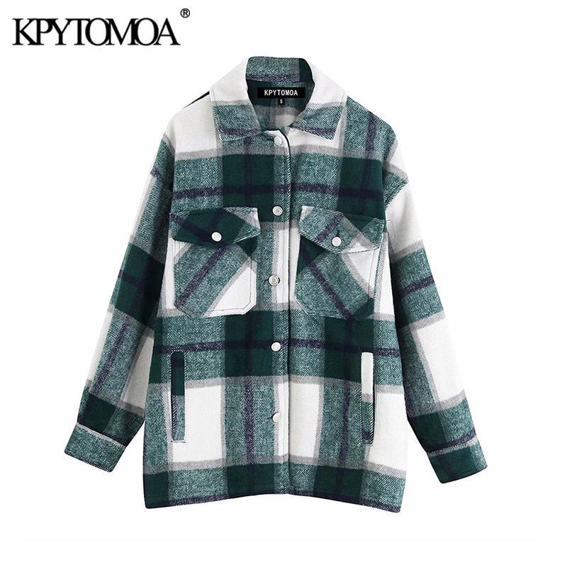 Vintage Stylish Pockets Oversized Plaid Jacket Coat Women 2020 Fashion Lapel Collar Long Sleeve Loose Outerwear Chic Tops T200301
