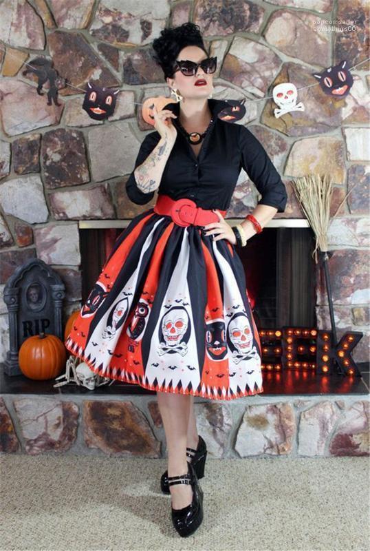 Полосатая женского Зонт Юбка женской дизайнер плиссированных юбок Хэллоуин шаблон Printed Летнего платье мода Контрастность Цвет