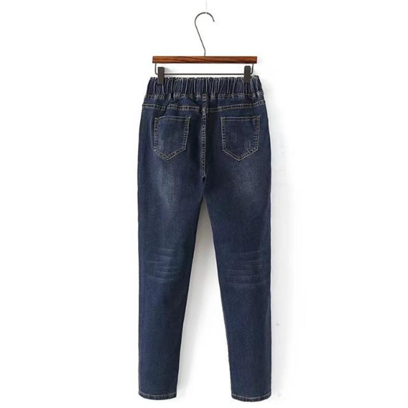Plus size 5XL Mulheres Jeans 2019 Nova Outono Inverno Elástico na cintura Calças Jeans tamanho Grande Solto Feminino Lavado Harem Pants 1987