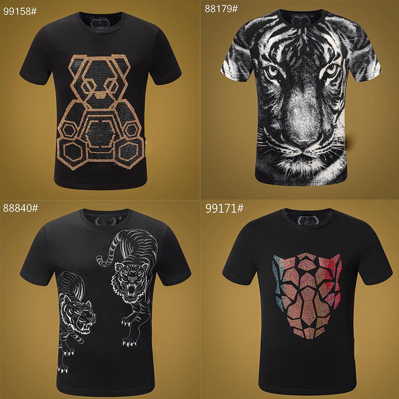 Homens T-shirt Verão de base sólida T Shirt cristal Man Moda Casual Punk Masculino de Alta Qualidade Preto carta cópia branca encabeça T 100% Algodão M-3XL