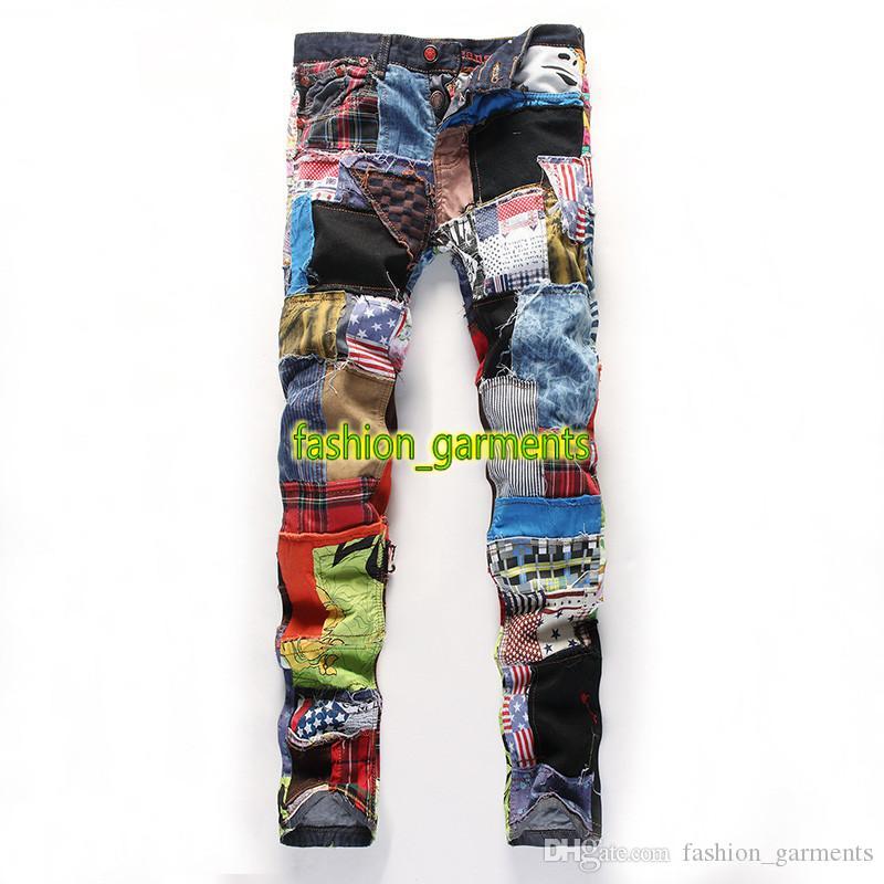 Hombre de la moda de Nueva marea vaqueros rectos delgados agujeros tela de colores costura Washed Denim Pantalones para hombre estilista jeans de moda