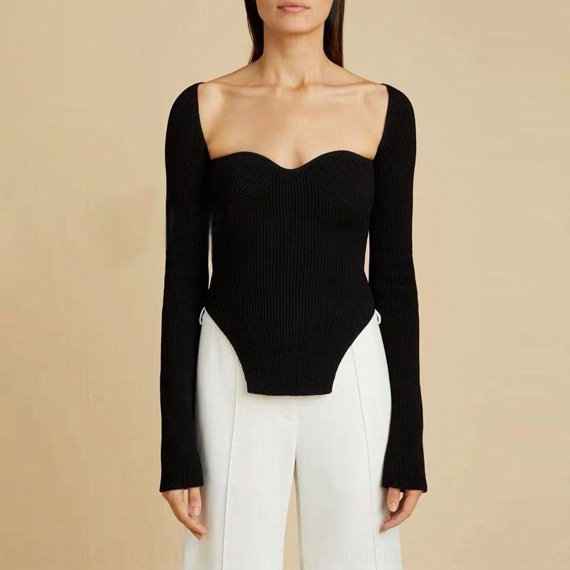 vUoru francesa elegante atractiva de cuello cuadrado color soporte del pecho del ajuste delgado arco de adelgazamiento dividida suéter corte sólida