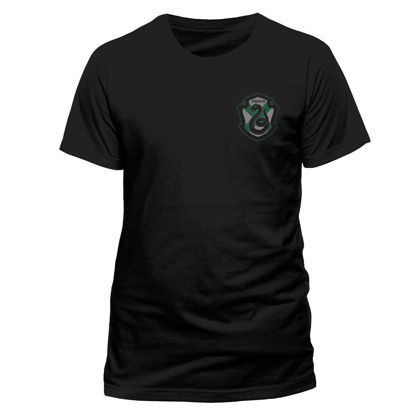 Maison officiel de crête de Slytherin T-shirt noir NOUVEAU Front N Retour Imprimer