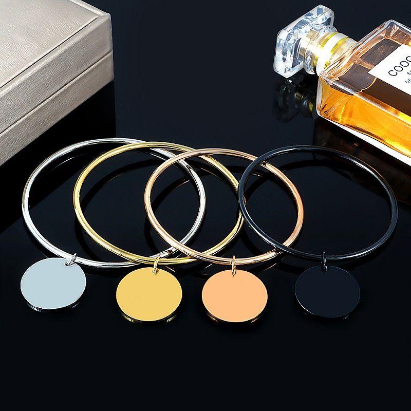 Paslanmaz Çelik Metal Gofret Charm Bileklik Bileklik İçin Kadınlar 4 Renkler 10 mm Yuvarlak Disk kolye Bilezikler Takı Hediye