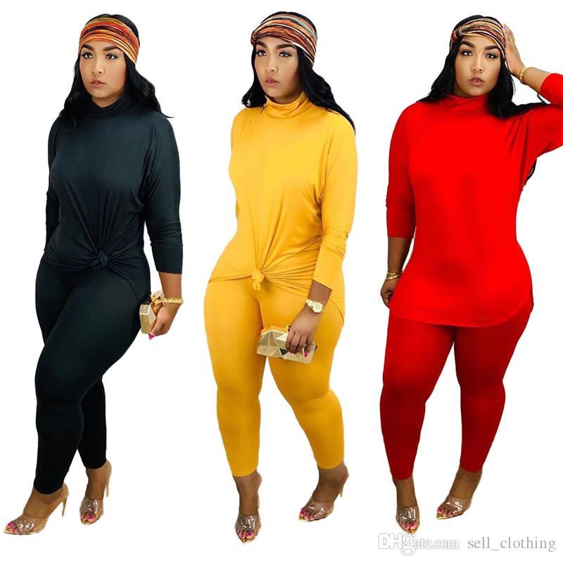 Плюс размер женщины спортивный костюм 2 шт. набор мода свободные толстовки топ + брюки повседневная сплошной цвет наряды плюс размер спортивный костюм бегун костюм 2074