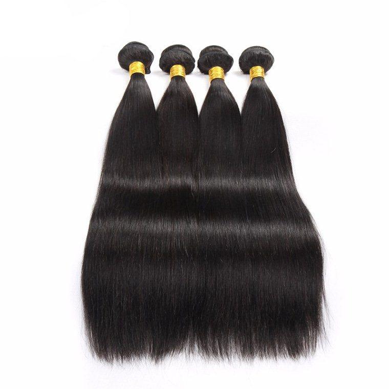 La meilleure vente de doubles extensions brésiliennes de cheveux de Weeded de trame de cheveux humains indiens péruviens indiens brésiliens de Vierge brésilienne tisse 4 faisceaux / lot
