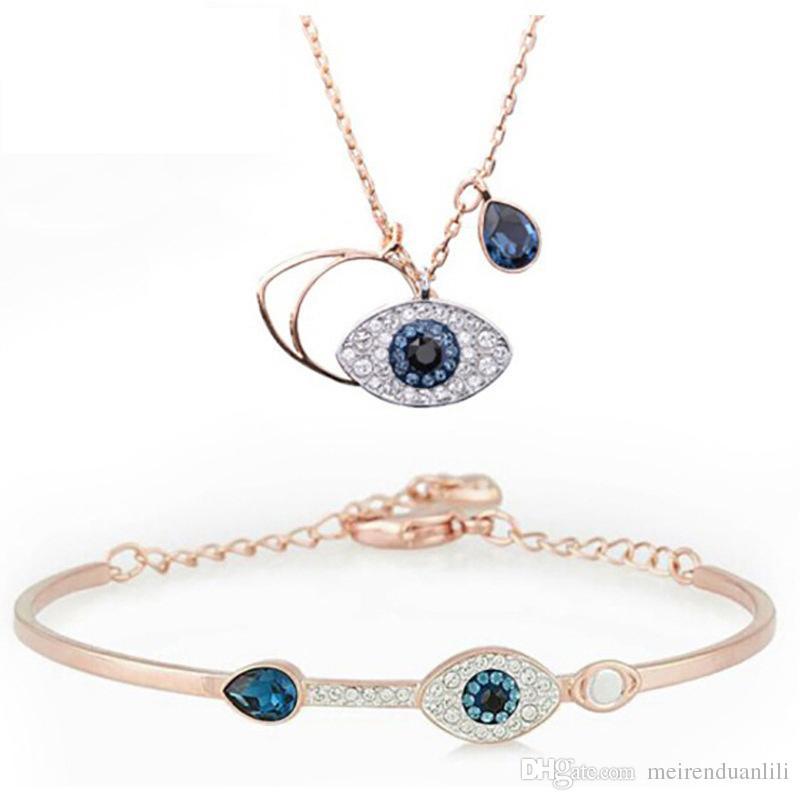 Classic Evil Eye Bracciale e collana di gioielli per le donne Set di gioielli per ragazze Miglior regalo in argento in oro rosa 2 colori argento 925 placcato Ch