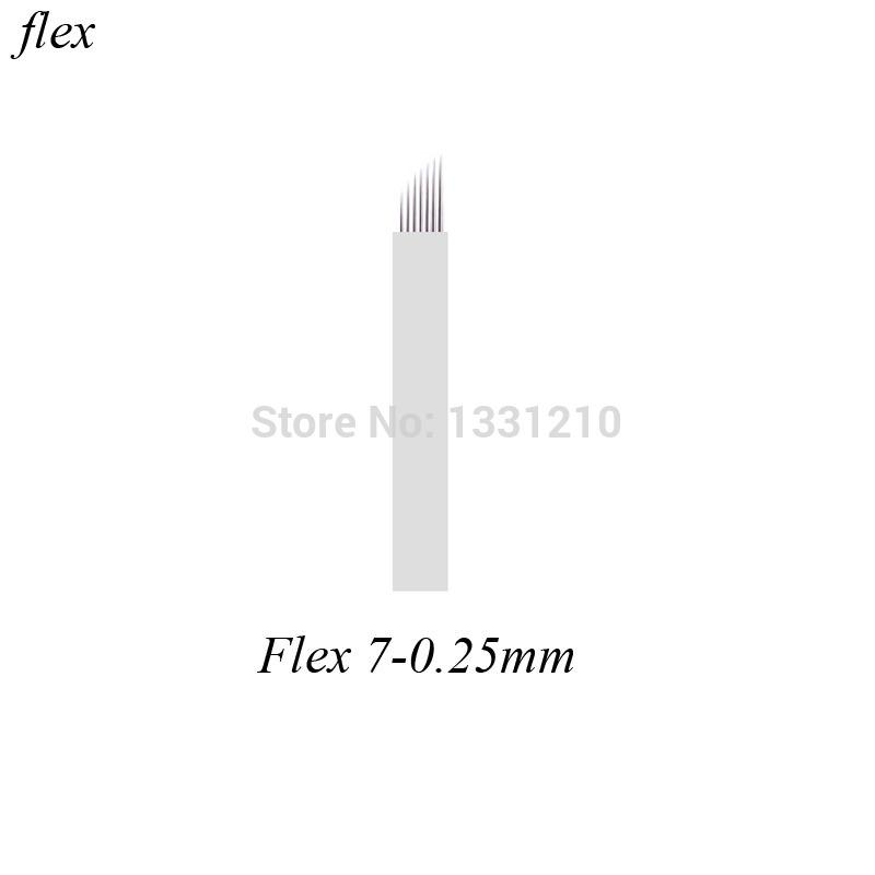 200 pcs Flex7 Diam 0,25mm Lâminas Microblading 7 Pontas Flex Permanent Makeup Manual Tattoo Eyebrow