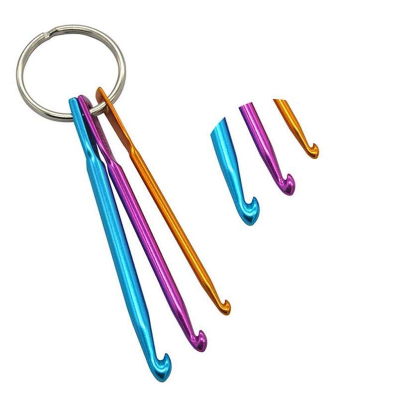 Los ganchos de ganchillo simple metal de la aleación del color sólido de la aguja con la Llaveros de punto agujas del hogar 3pcs PRÁCTICA POR Conjuntos 1 5yn E1