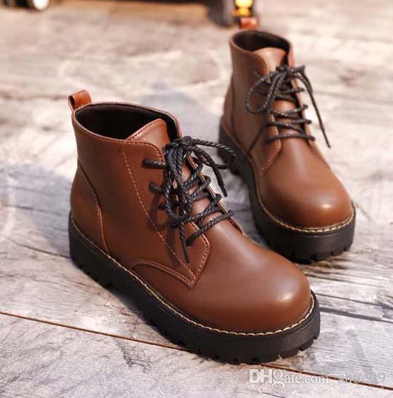2019 Neueste Frauen Leder Flache Stiefel, klassische Jumble Ankle Boot Dame beiläufige Schuh in clafskin hohen Pumps mit Kasten-Größe 35-41 bm49