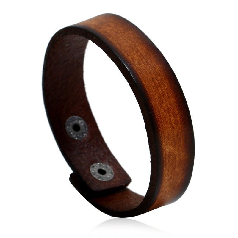 Vendita calda retrò uomo donna braccialetto unisex vintage punk largo braccialetto in pelle gioielli di alta qualità coppia regalo 24 cm
