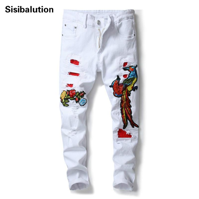 2018 New Men's Causal White Ripped Skinny Jeans Phoenix Bird Rose Embroidered Male Hot Sale Patches Elastic Denim Pants